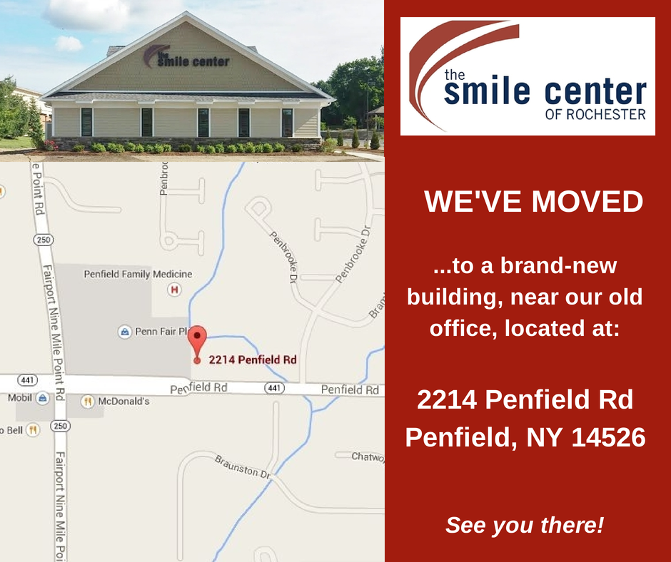 Penfield Dentist Dr. Sanon invites you to The Smile Center's new location at 2214 Penfield Rd!